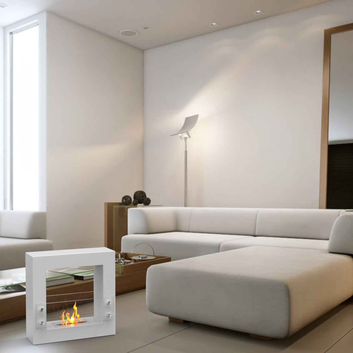 dora ventless free standing ethanol fireplace in white
