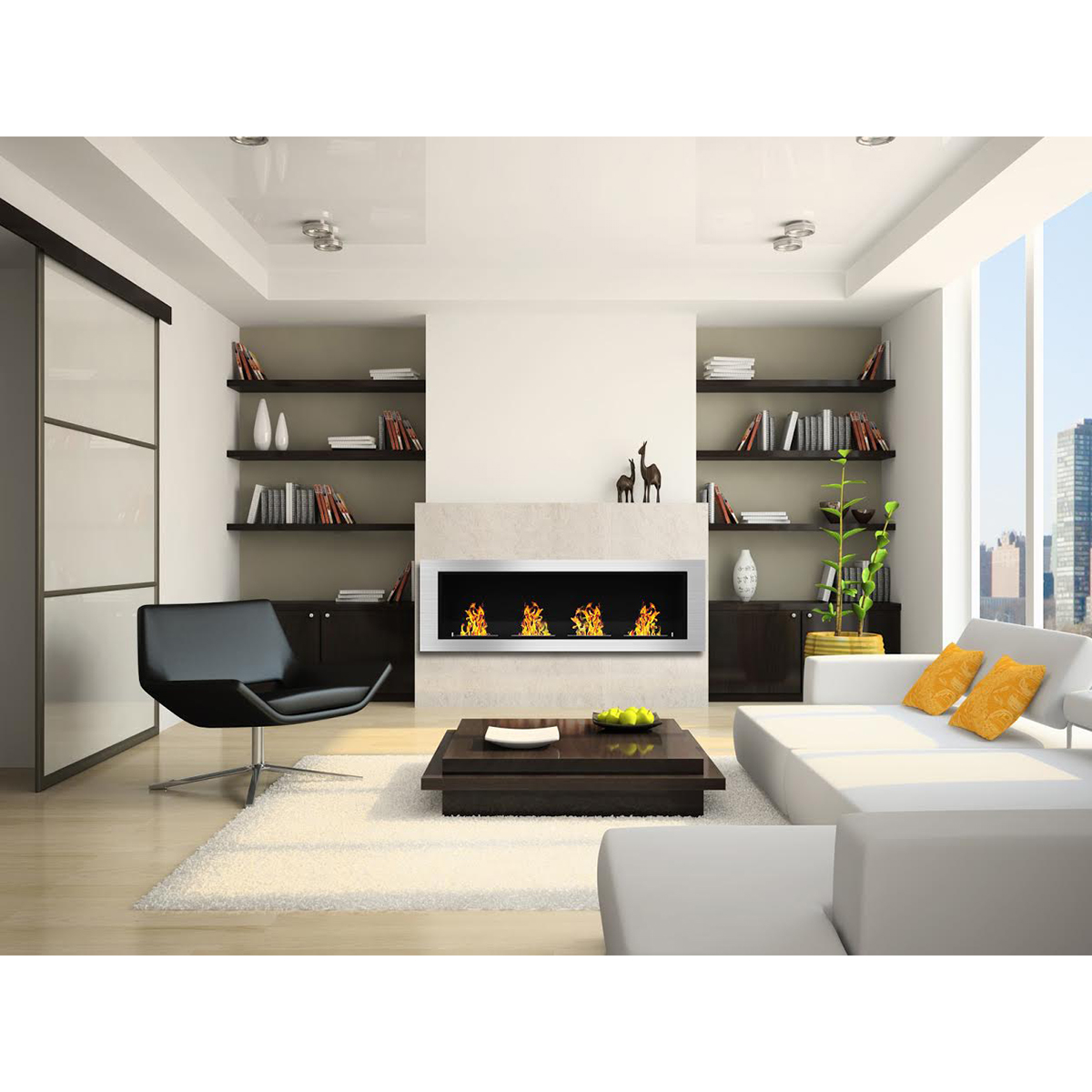 Charlotte 64 Inch Ventless Built In Recessed Bio Ethanol Wall