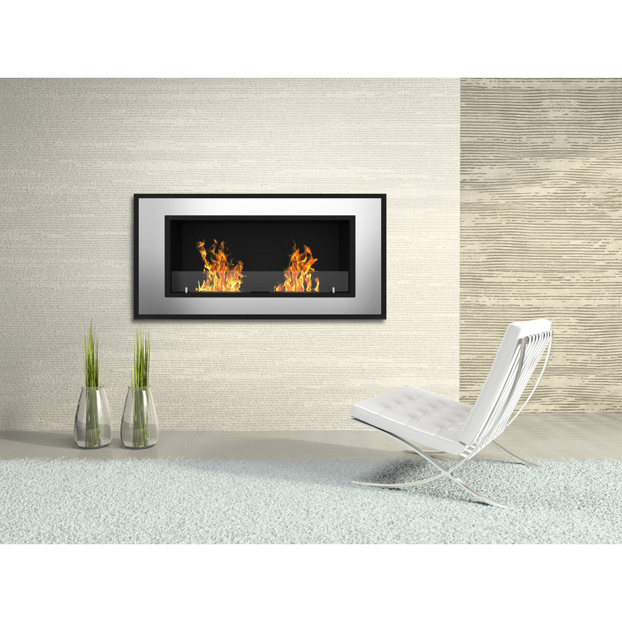 brooks 47 inch ventless built in recessed bio ethanol wall mounted rh regalflame com Corner Wall Mounted Fireplace Ethanol Fireplace TV Wall Unit