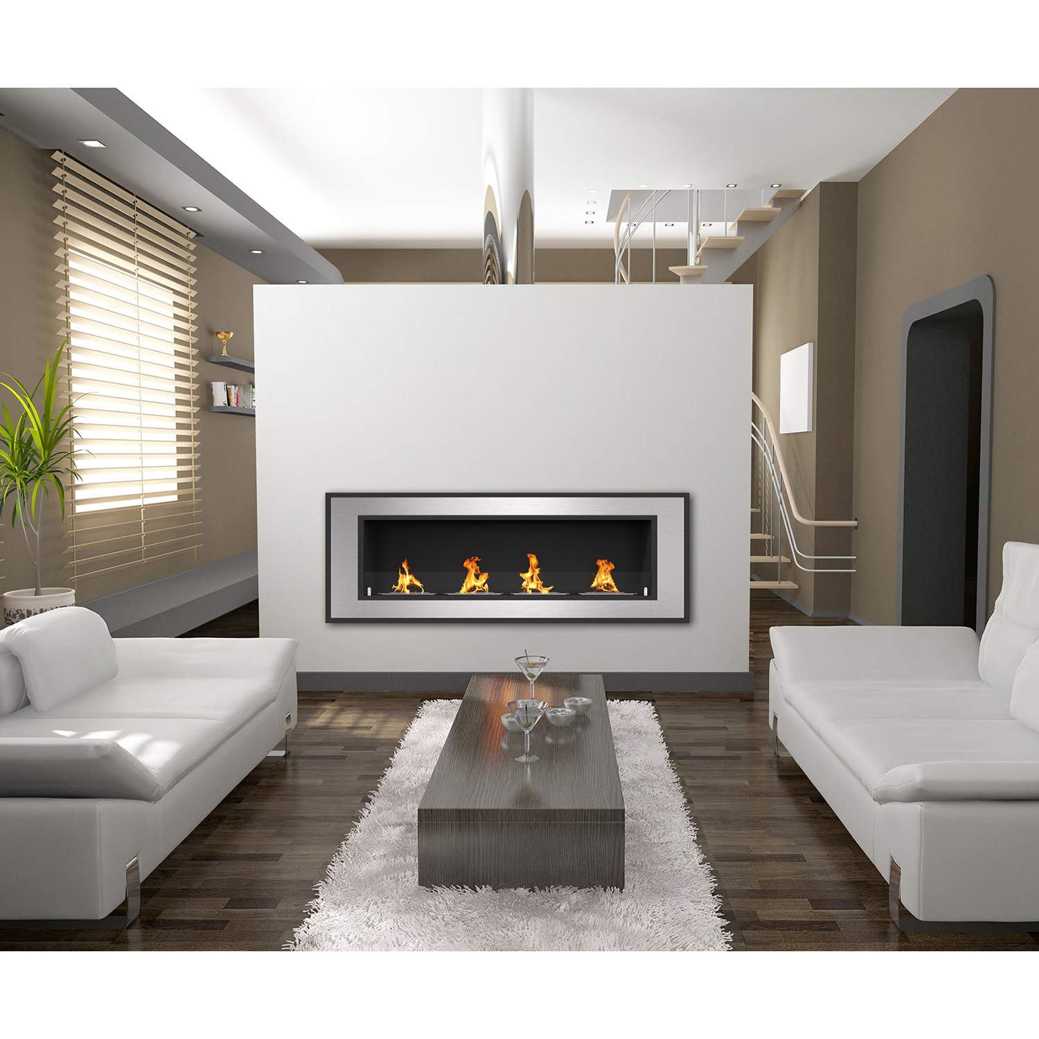Cynergy 60 Inch Ventless Built In Recessed Bio Ethanol