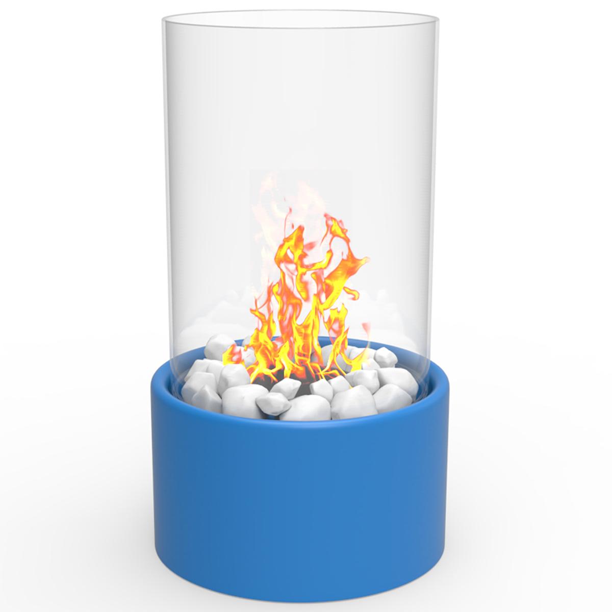 Eden Ventless Tabletop Portable Bio Ethanol Fireplace In Blue