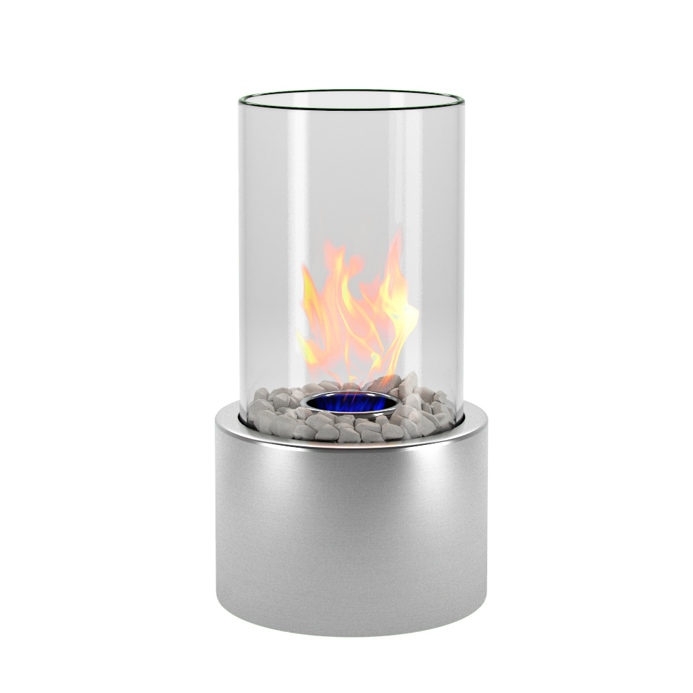 Eden Ventless Tabletop Portable Bio Ethanol Fireplace In Stainless Steel