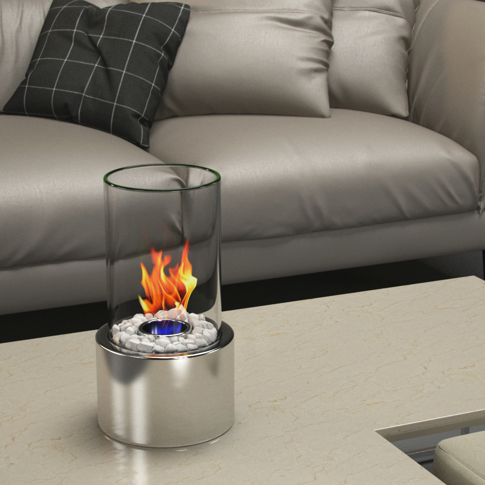eden ventless tabletop portable bio ethanol fireplace in stainless