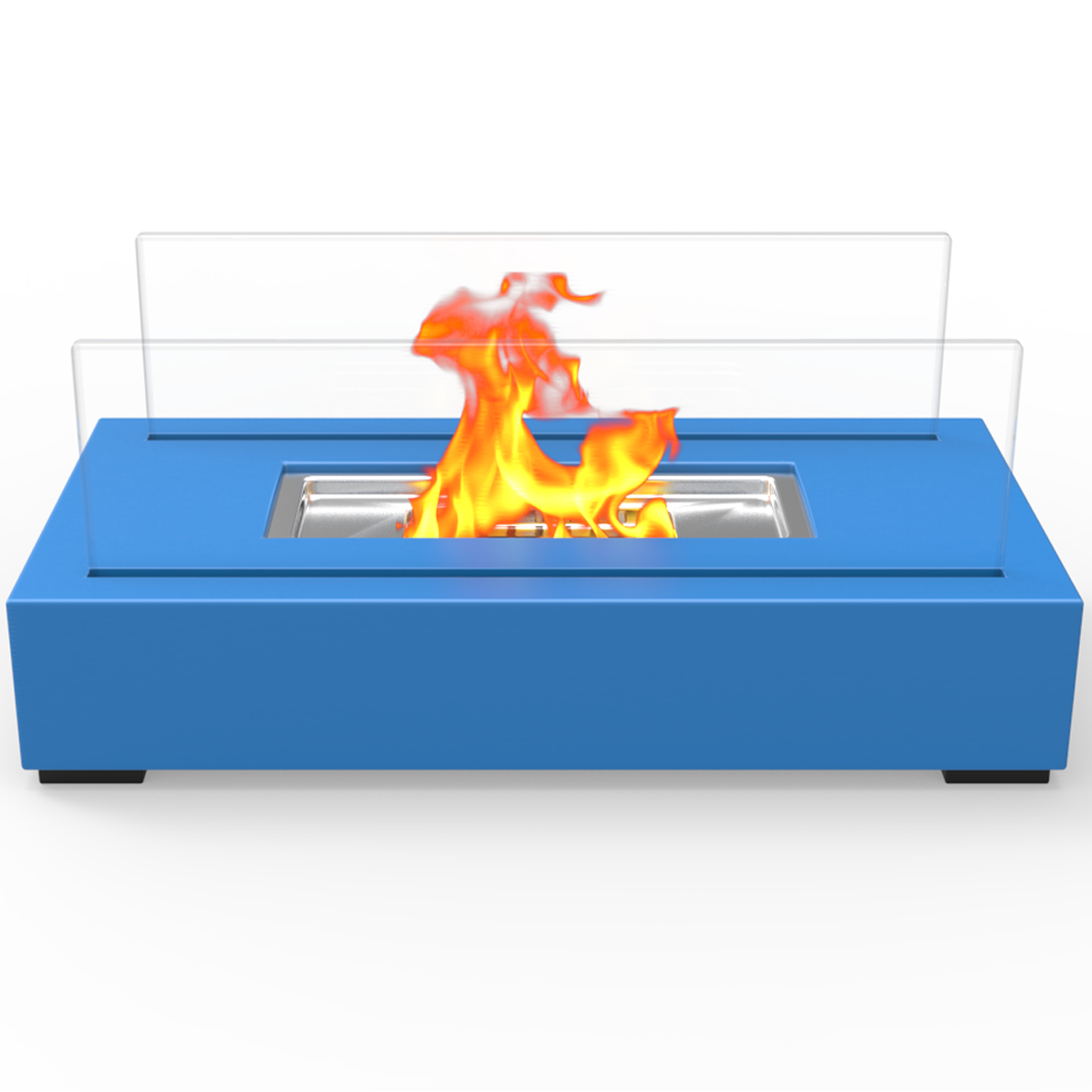 utopia ventless tabletop portable bio ethanol fireplace in blue