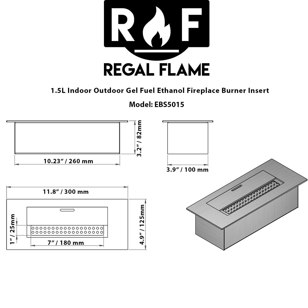 slim 12 inch bio ethanol fireplace burner insert 1 5 liter