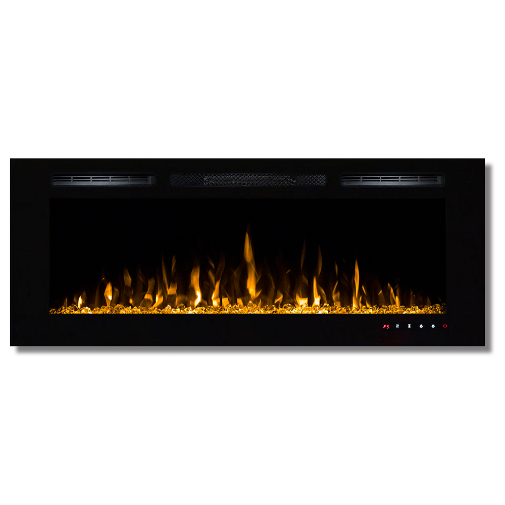 Fusion 50 Inch Built In Ventless Heater Recessed Wall Mounted Electric Fireplace Multi Color