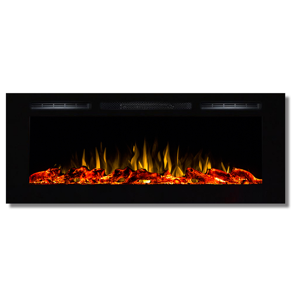 Fusion 50 Inch Built In Ventless Heater Recessed Wall Mounted Electric Fireplace Log