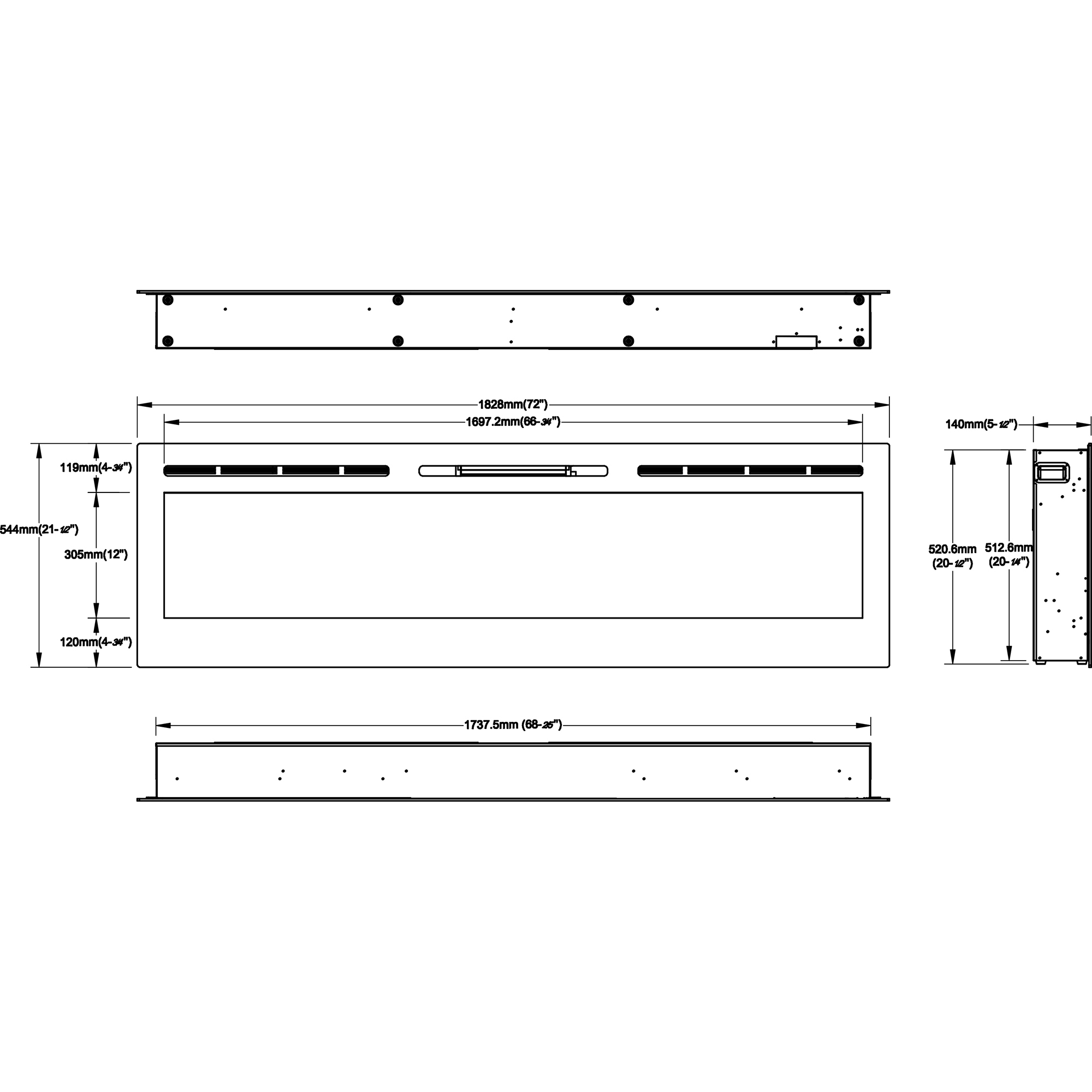 gotham 72 inch built in ventless heater recessed wall mounted