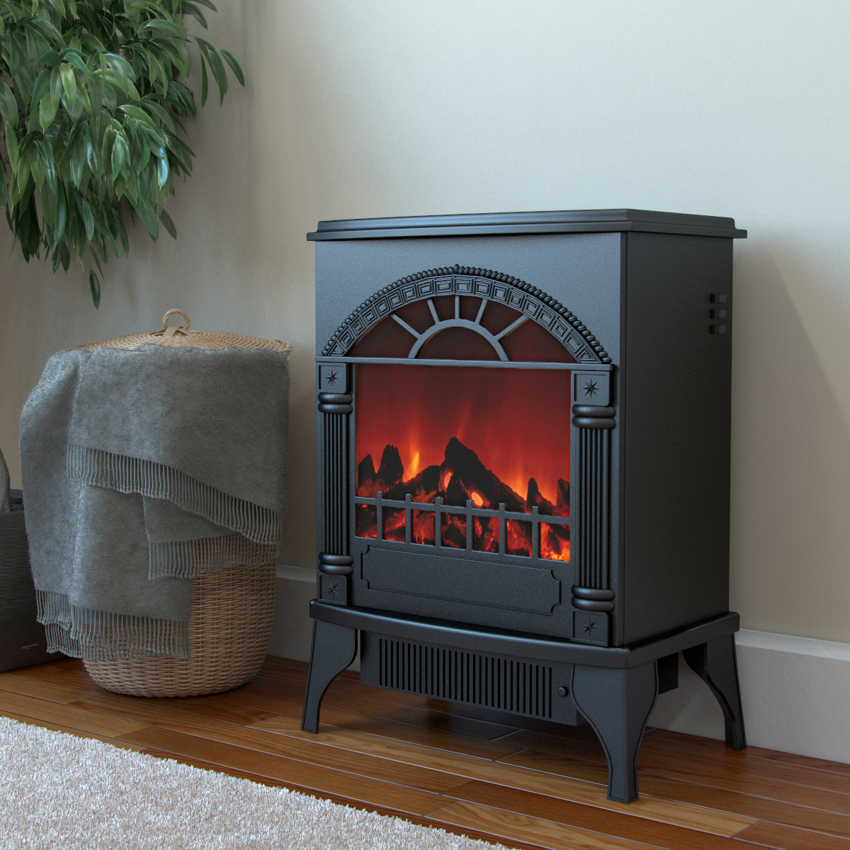 Apollo Electric Fireplace Free Standing Portable Space Heater Stove