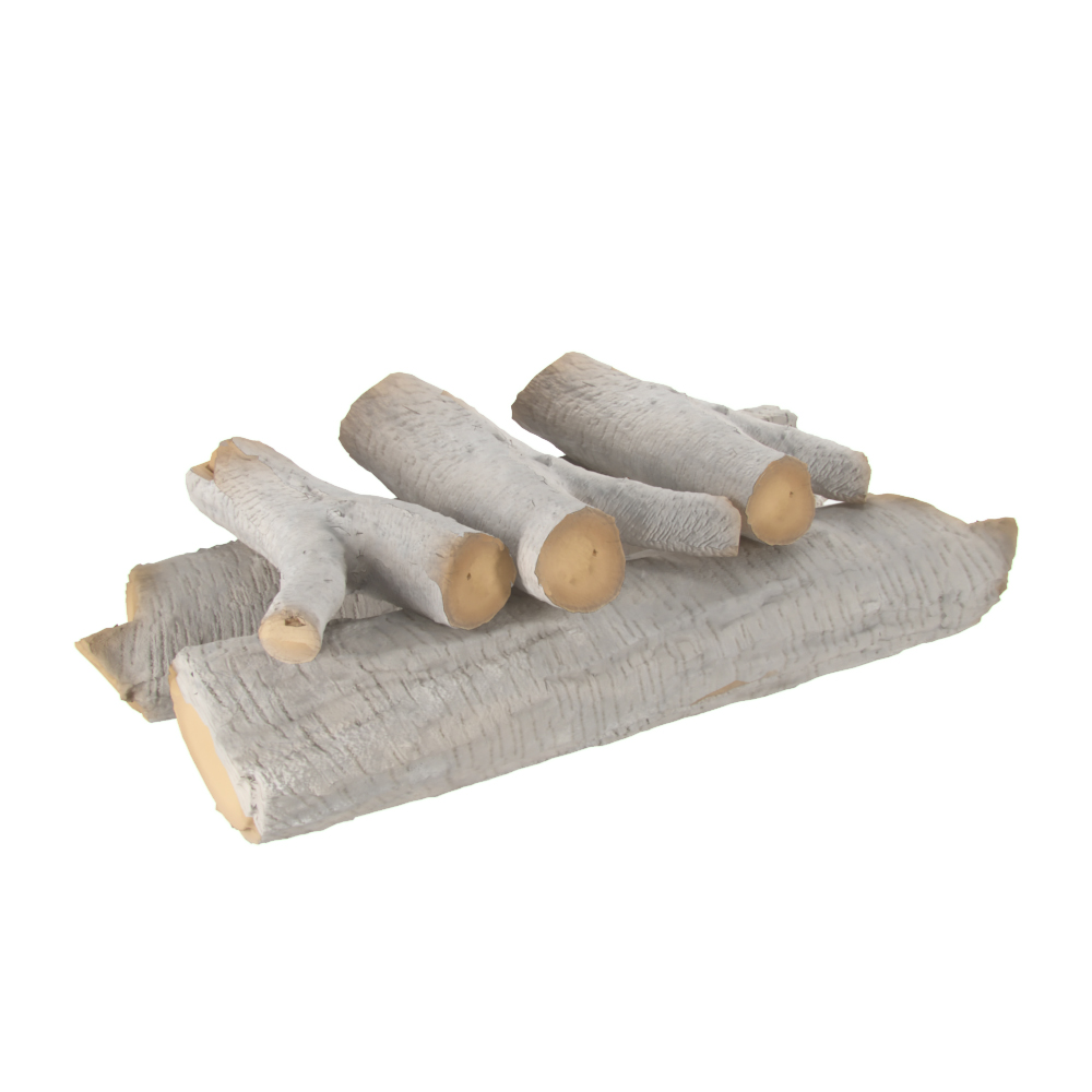 16 Inch Birch Ceramic Fireplace Gas Logs 5 Piece