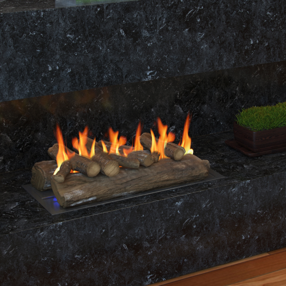 22 Inch Oak Ceramic Fireplace Gas Logs 6 Piece