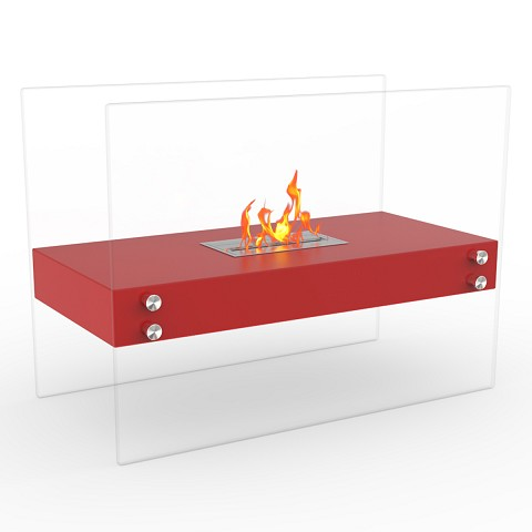 Ionic Ventless Free Standing Ethanol Fireplace in Red
