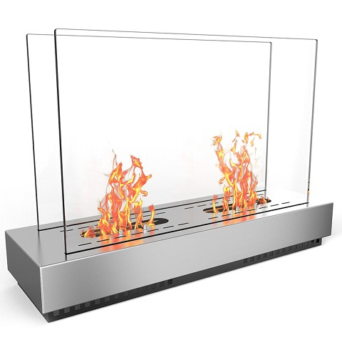 Phoenix Ventless Free Standing Ethanol Fireplace in Stainless Steel