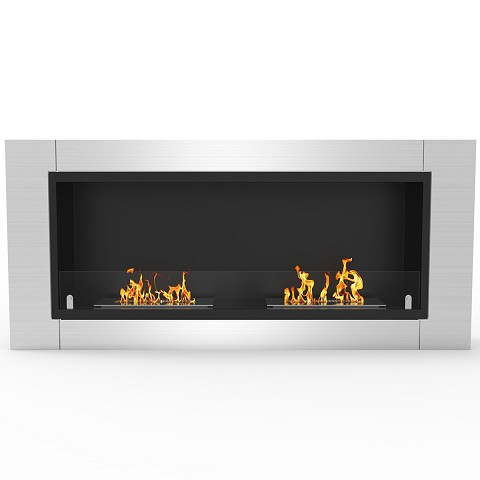 Fargo 43 Inch Ventless Built In Recessed Bio Ethanol Wall Mounted Fireplace