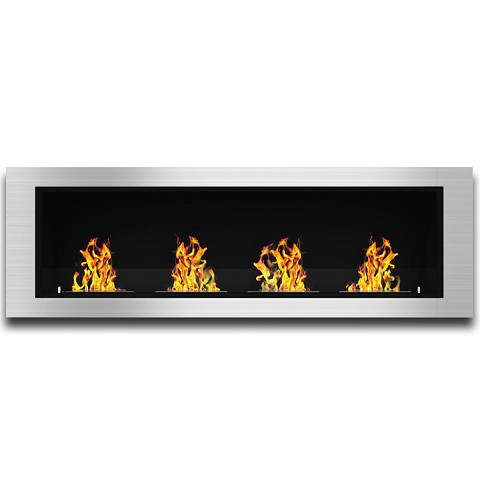Charlotte 64 Inch Ventless Built In Recessed Bio Ethanol Wall Mounted Fireplace