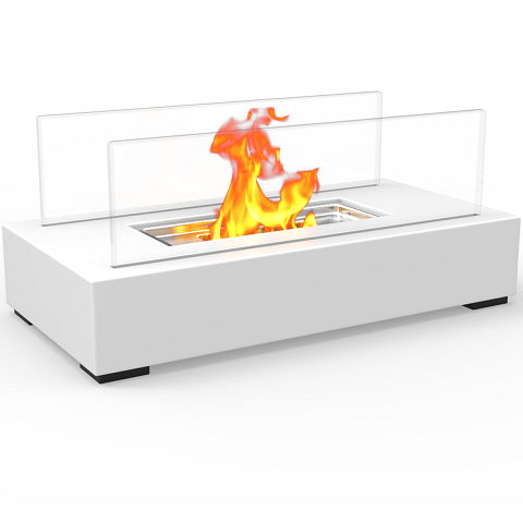 Utopia Ventless Tabletop Portable Bio Ethanol Fireplace in White