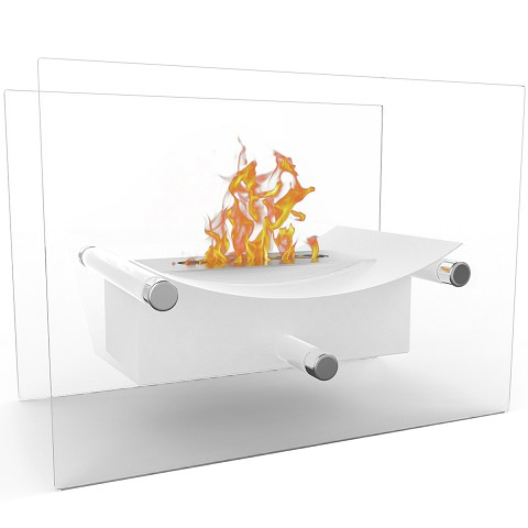 Arkon Tabletop Portable Bio Ethanol Fireplace in White