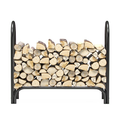 4 Foot Heavy Duty Firewood Log Rack Outdoor Firewood Holder in Black