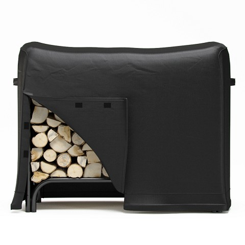4 Foot Black Water Resistant Firewood Log Rack Cover
