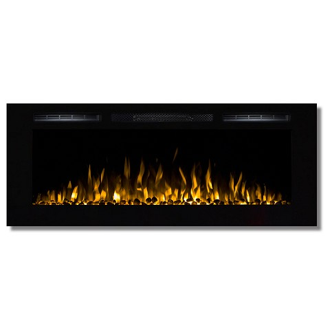 Fusion 50 Inch Built-in Ventless Heater Recessed Wall Mounted Electric Fireplace - Pebble
