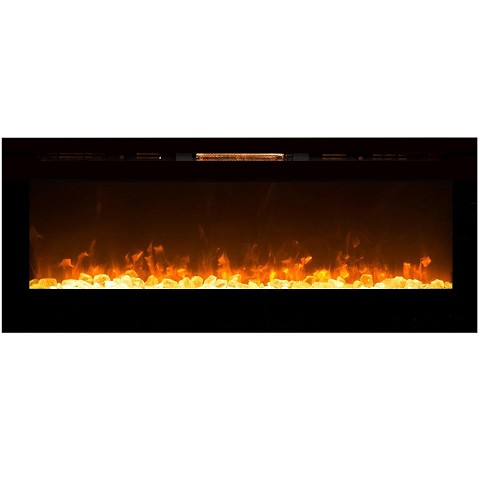Astoria 60 Inch Built-in Ventless Heater Recessed Wall Mounted Electric Fireplace - Crystal