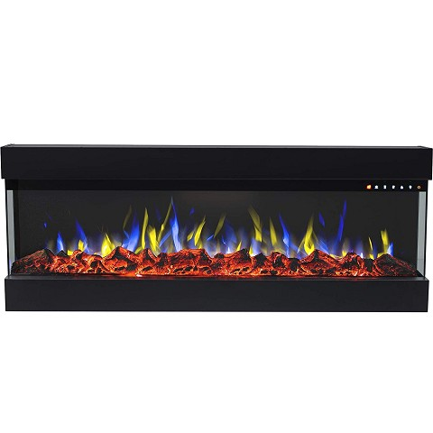 Spectrum 50 Inch Modern Linear Electric 3 Sided Wall Mounted Built-in Recessed Fireplace