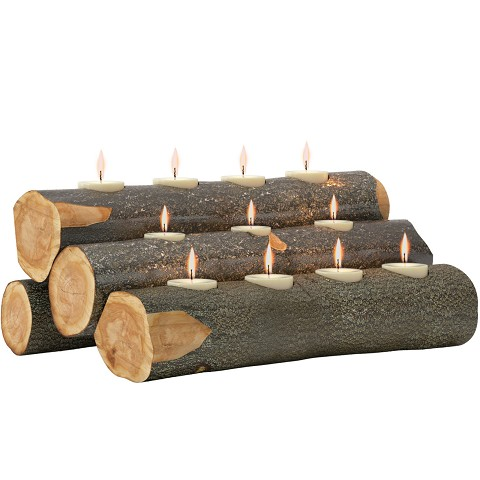 "Tealight 24"" Fireplace Log Candle Holder Insert - Rustic Wood Finish"