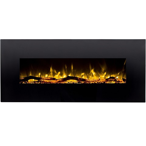 Denali 60 Inch Black Ventless Heater Electric Wall Mounted Fireplace - Log Pebble and Crystal