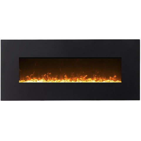 Orion 50 Inch Black Ventless Heater Electric Wall Mounted Fireplace - Crystal