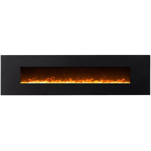 Huron 95 Inch Black Ventless Heater Electric Wall Mounted Fireplace - Crystal