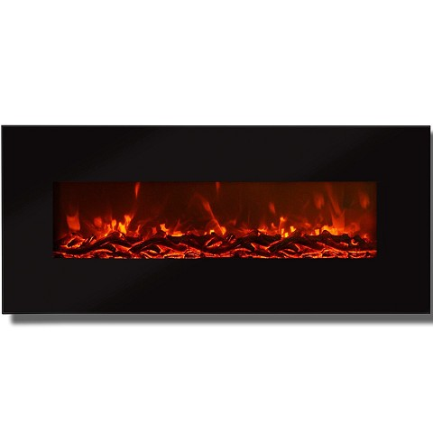 Valencia 50 Inch Black Ventless Heater Electric Wall Mounted Fireplace - Log Pebble Crystal