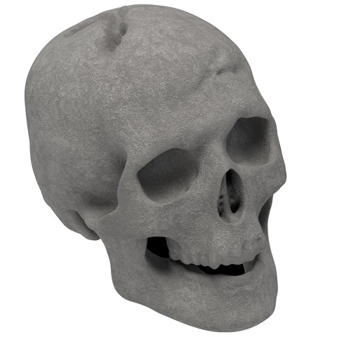 Human Skull Gas Log for Indoor or Outdoor Fireplaces Fire Pits Halloween Decor - Gray