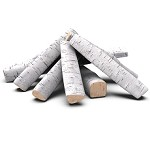 Set of 8 Ceramic Fiber Propane Gel Ethanol or Gas Fireplace Logs - Birch