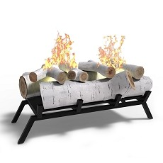 18 inch Birch Convert to Ethanol Fireplace Log Set with Burner Insert from Gel or Gas Logs - Birch