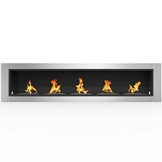 Cambridge 71 Inch Ventless Built In Recessed Bio Ethanol Wall Mounted Fireplace