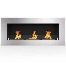 Warren 50 Inch PRO Ventless Built In Recessed Bio Ethanol Wall Mounted Fireplace