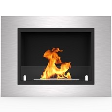 Venice 32 Inch Ventless Built In Recessed Bio Ethanol Wall Mounted Fireplace