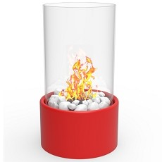 Eden Ventless Tabletop Portable Bio Ethanol Fireplace in Red