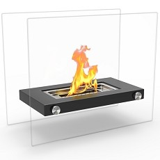 Monrow Ventless Tabletop Portable Bio Ethanol Fireplace in Black