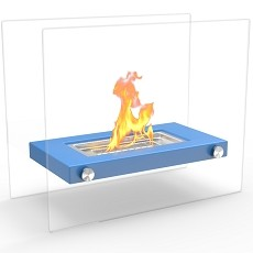 Monrow Ventless Tabletop Portable Bio Ethanol Fireplace in Blue
