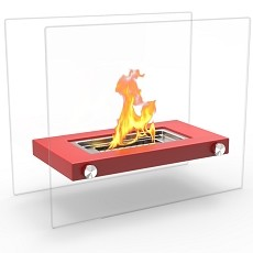 Monrow Ventless Tabletop Portable Bio Ethanol Fireplace in Red