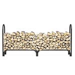 8 Foot Heavy Duty Firewood Log Rack Outdoor Firewood Holder in Black