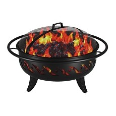 Wellington 30 Inch Outdoor Backyard Garden Home Light Fire Pit with Poker
