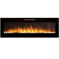 Gotham 72 Inch Built-in Ventless Heater Recessed Wall Mounted Electric Fireplace - Pebble