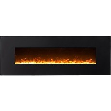 Erie 72 Inch Black Ventless Heater Electric Wall Mounted Fireplace - Crystal
