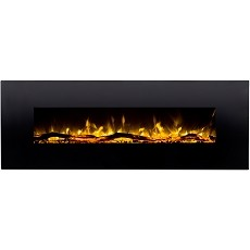 Erie 72 Inch Black Ventless Heater Electric Wall Mounted Fireplace - Log