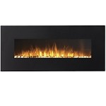 Rigel 50 Inch Black Ventless Heater Electric Wall Mounted Fireplace - Pebble