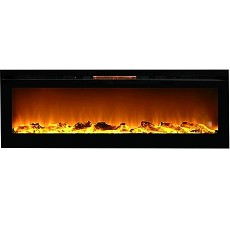 Gotham 72 Inch Built-in Ventless Heater Recessed Wall Mounted Electric Fireplace - Log