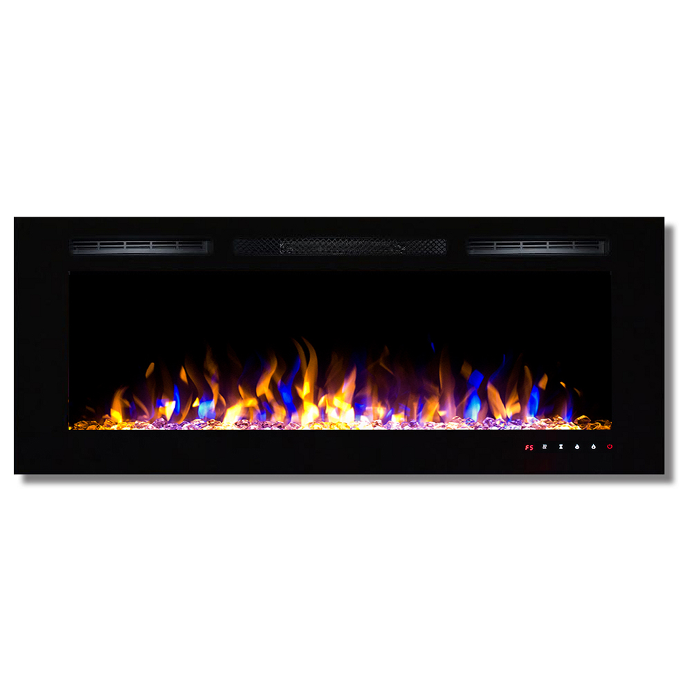 """Details about  /50/"""" Electric Fireplace Recessed Ultra Thin Wall Mounted Heater Multicolor Flame"""