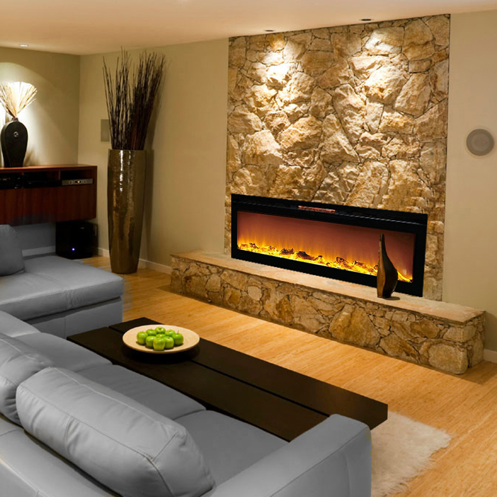 ryan rove astoria 60 built ventless heater recessed wall electric rh ebay com wall mounted electric fireplaces for sale wall insert electric fireplaces